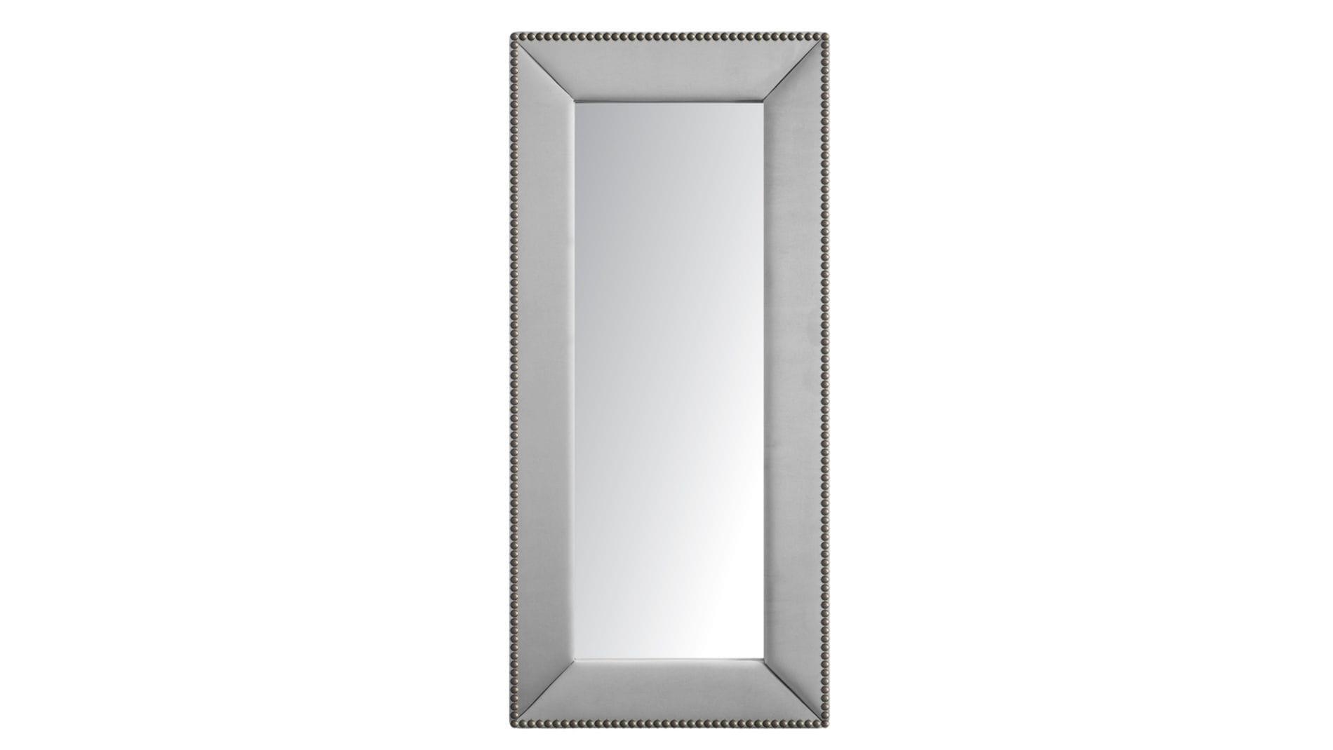 Зеркало напольное с гвоздиками Экокожа Серебро Р