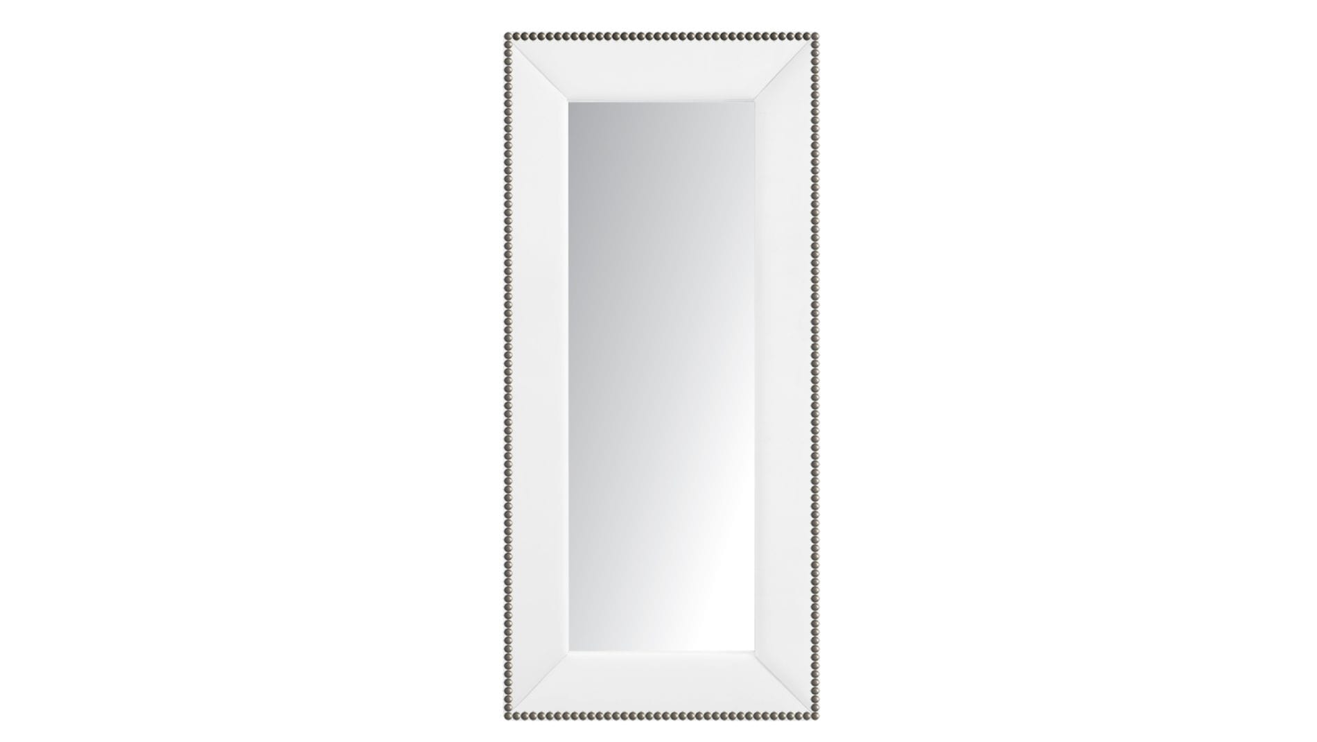 Зеркало напольное с гвоздиками Экокожа Белое Р