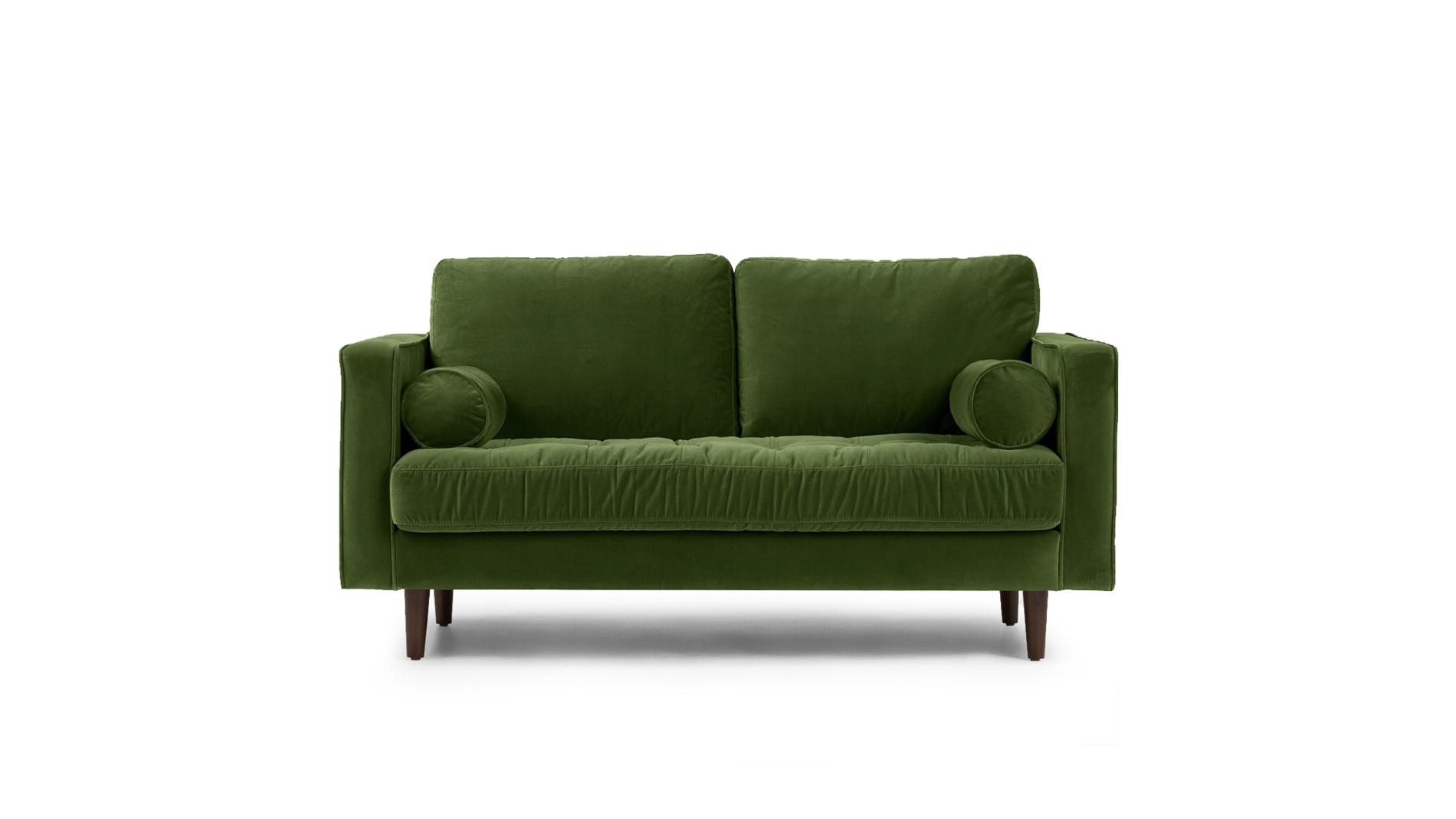 Диван Lucia двухместный Тёмно-зелёный Велюр Р