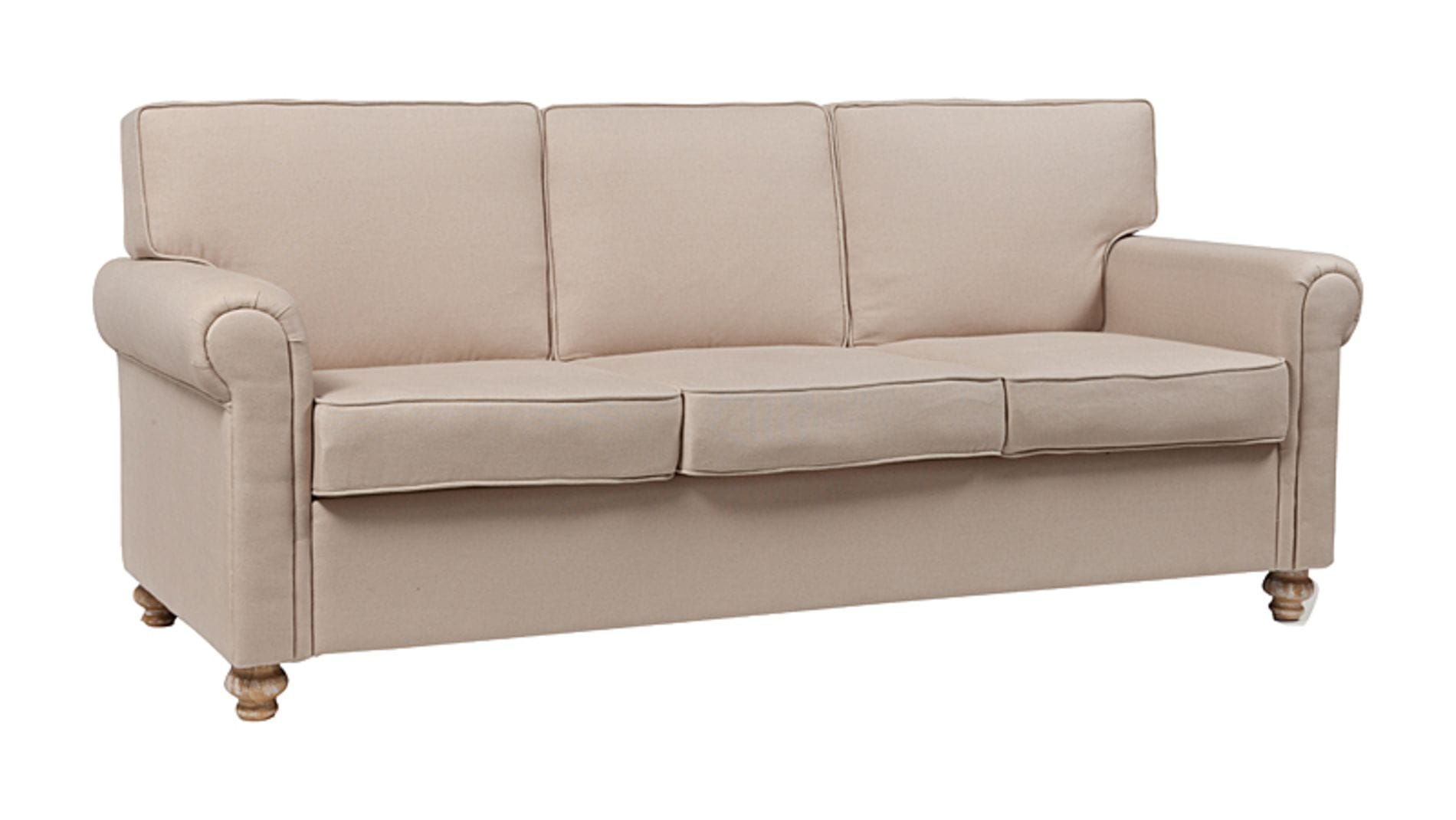 Диван The Pettite Lancaster Upholstered Sofa Кремовый Лен