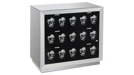 Зеркальный комод с ящиками Safe (черепа)