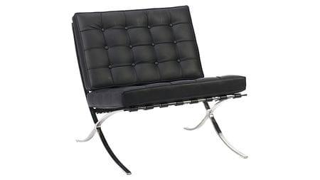 Кресло Barcelona Chair Чёрная Экокожа Р