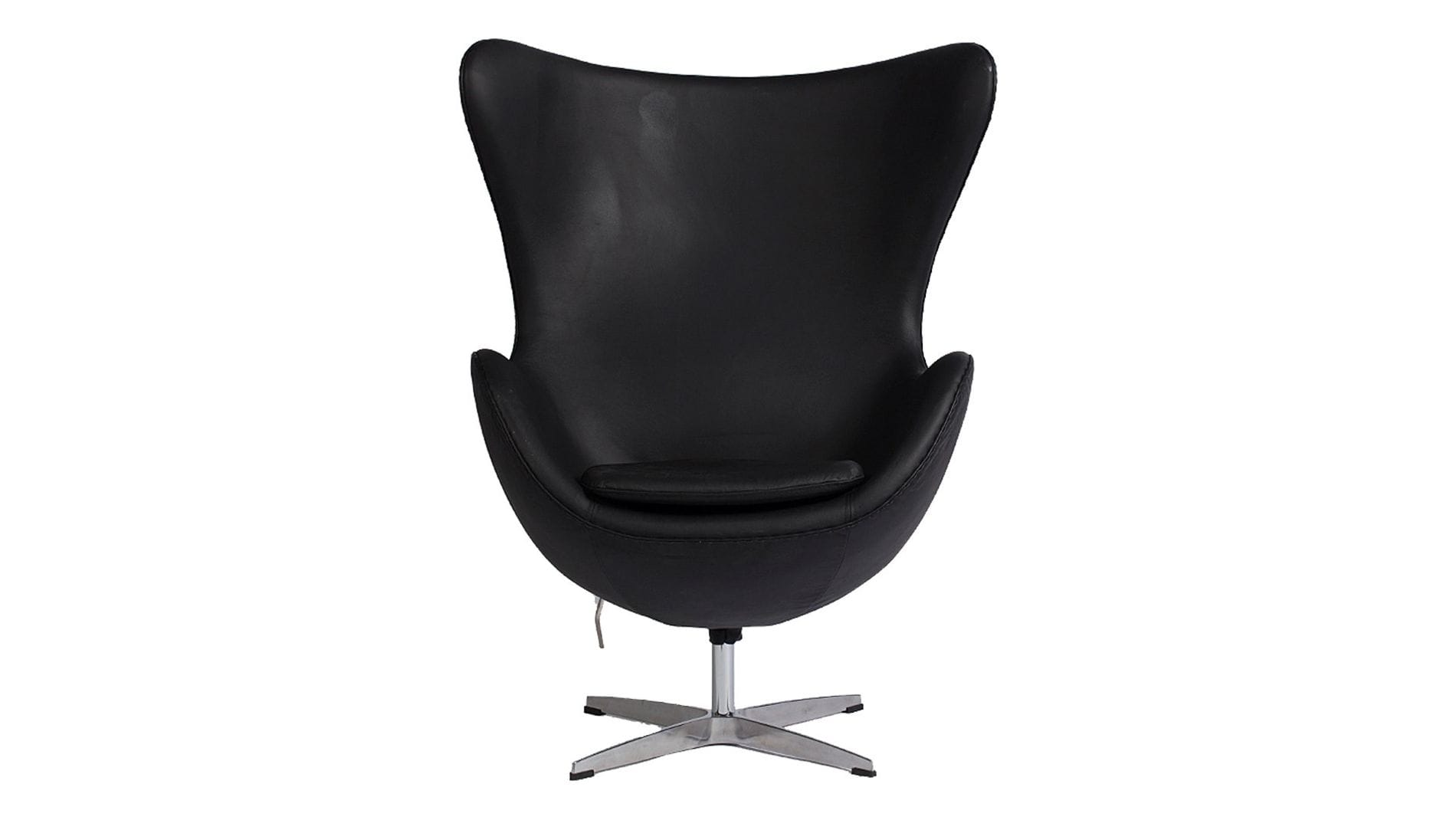 Кресло Egg Chair Черная Кожа