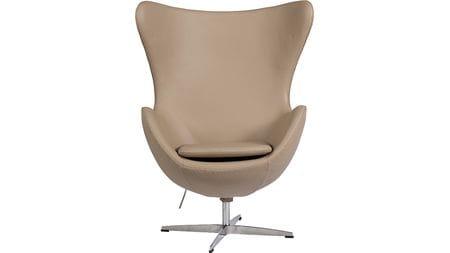 Кресло Egg Chair Темно-бежевое Кожа Класса Премиум М