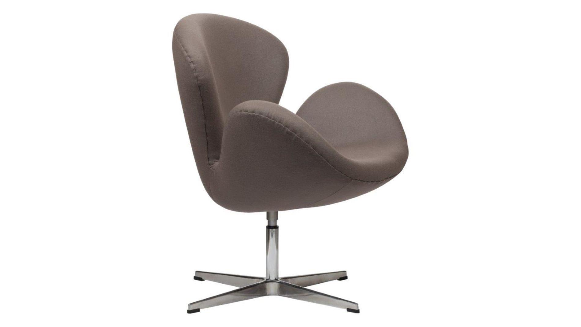 Кресло Swan Chair Серо-коричневая Шерсть М