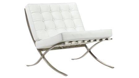 Детское кресло Barcelona Chair Белая Кожа Класса Премиум Р
