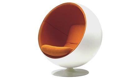 Кресло Eero Ball Chair Бело-оранжевое Шерсть