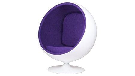 Кресло Eero Ball Chair Бело-фиолетовое Шерсть