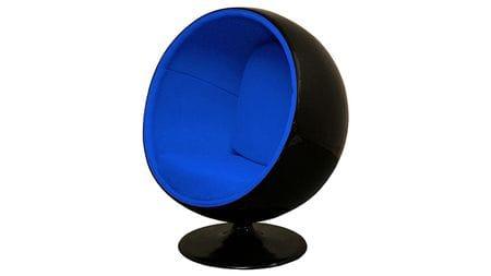 Кресло Eero Ball Chair Черно-синее Шерсть