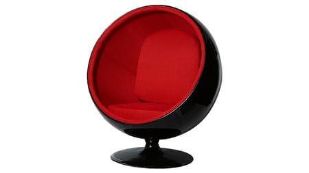 Кресло Eero Ball Chair Черно-красное Шерсть