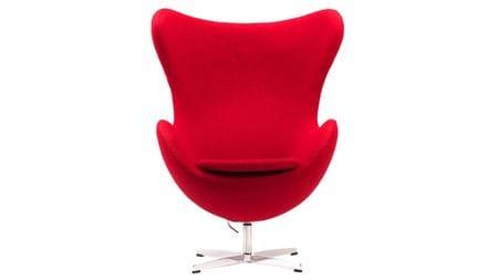 Кресло Egg Chair Красное 100% Кашемир М