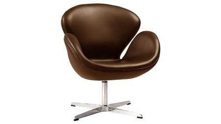 Кресло Swan Chair Коричневое Натуральная Кожа М