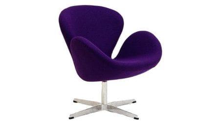 Кресло Swan Chair Фиолетовая Шерсть М