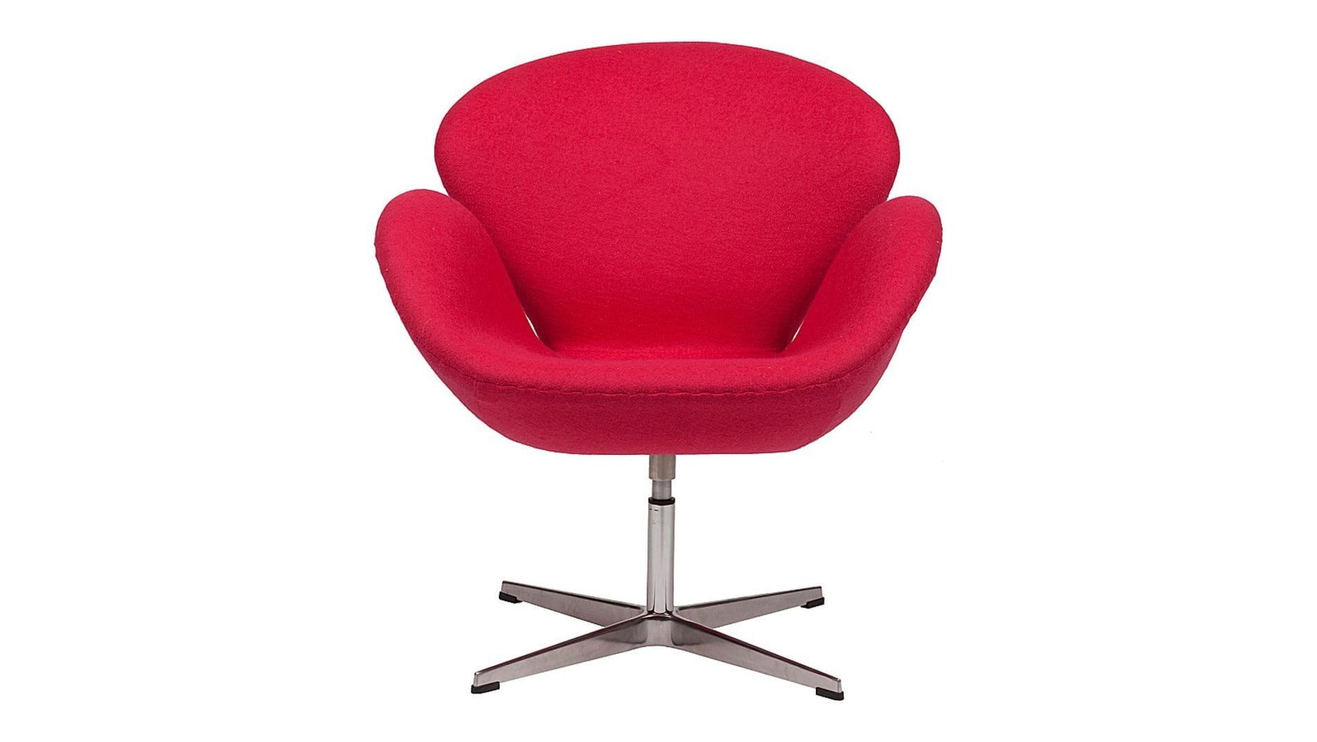 Кресло Swan Chair Ярко-красная Шерсть М