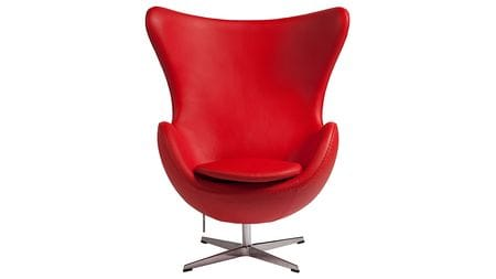 Кресло Egg Chair Красное Кожа Класса Премиум М