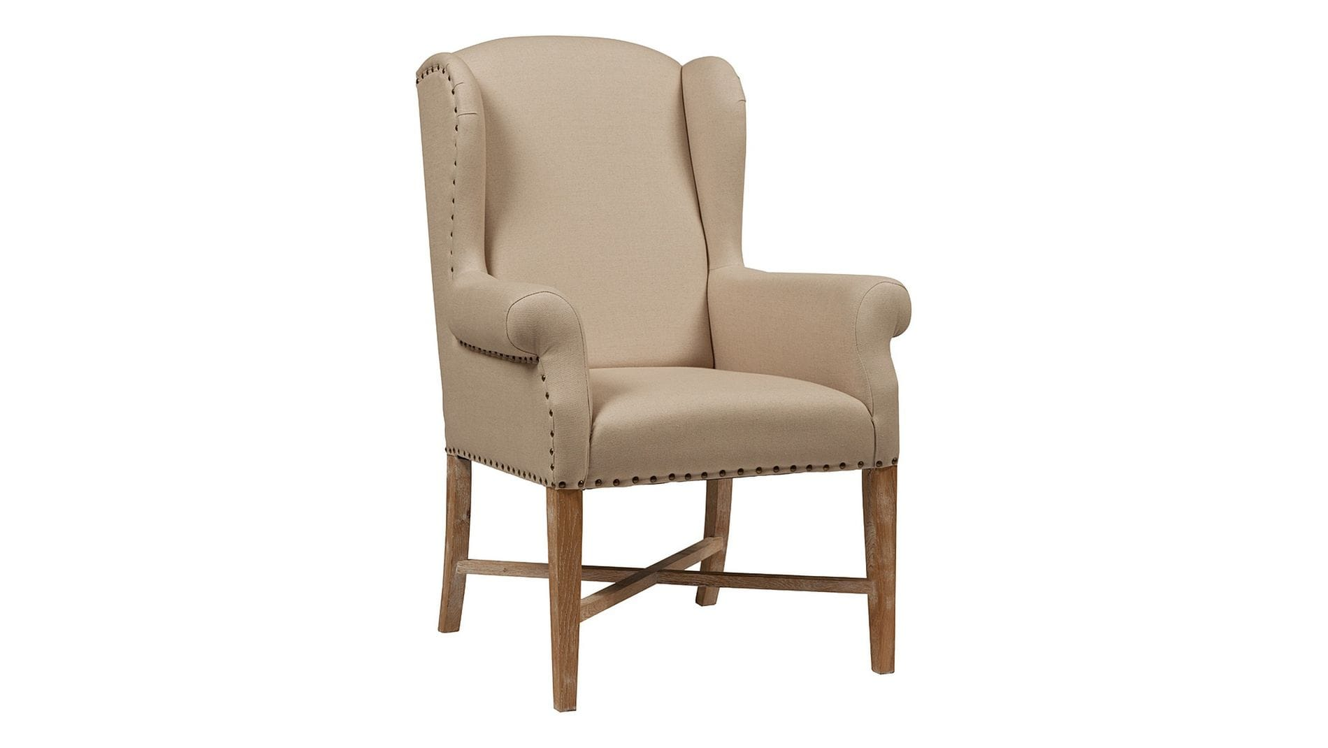 Кресло French Wing Chair Кремовый Лен