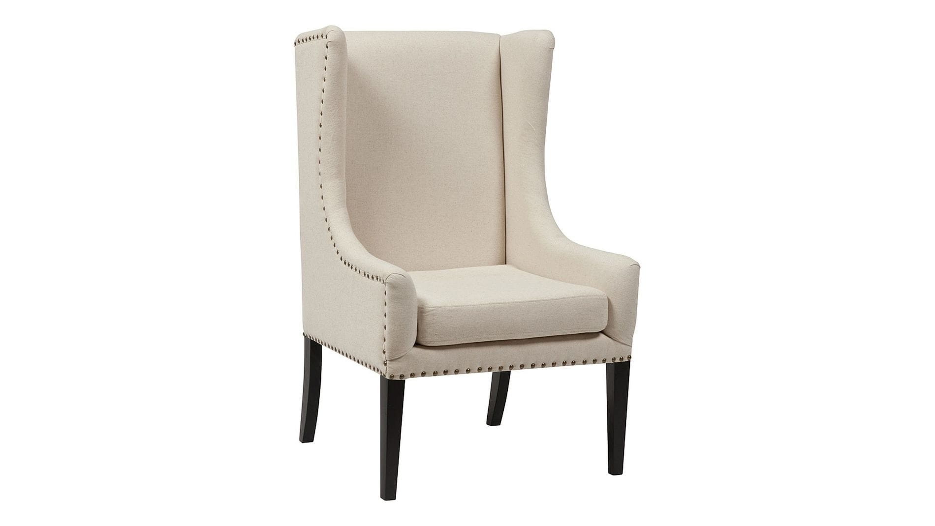 Кресло Nailhead Fabric Armchair Белый Лен