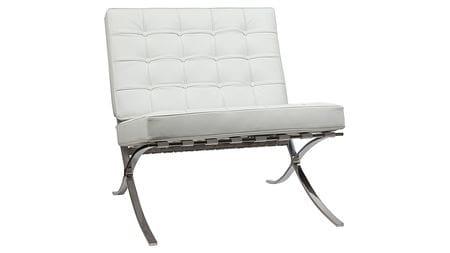 Кресло Barcelona Chair Белая Экокожа Р
