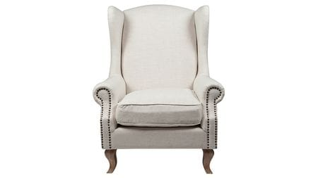 Кресло Collins Wingback Chair Белый Лён