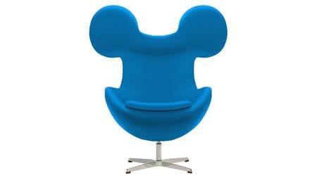 Кресло Egg Mickey Голубое 100% Шерсть М