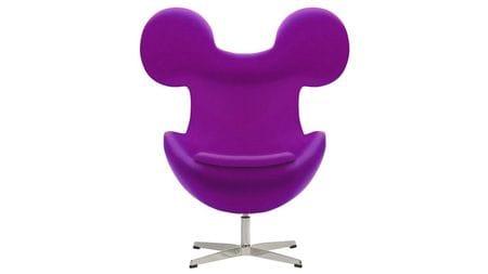Кресло Egg Mickey Фиолетовое 100% Шерсть М