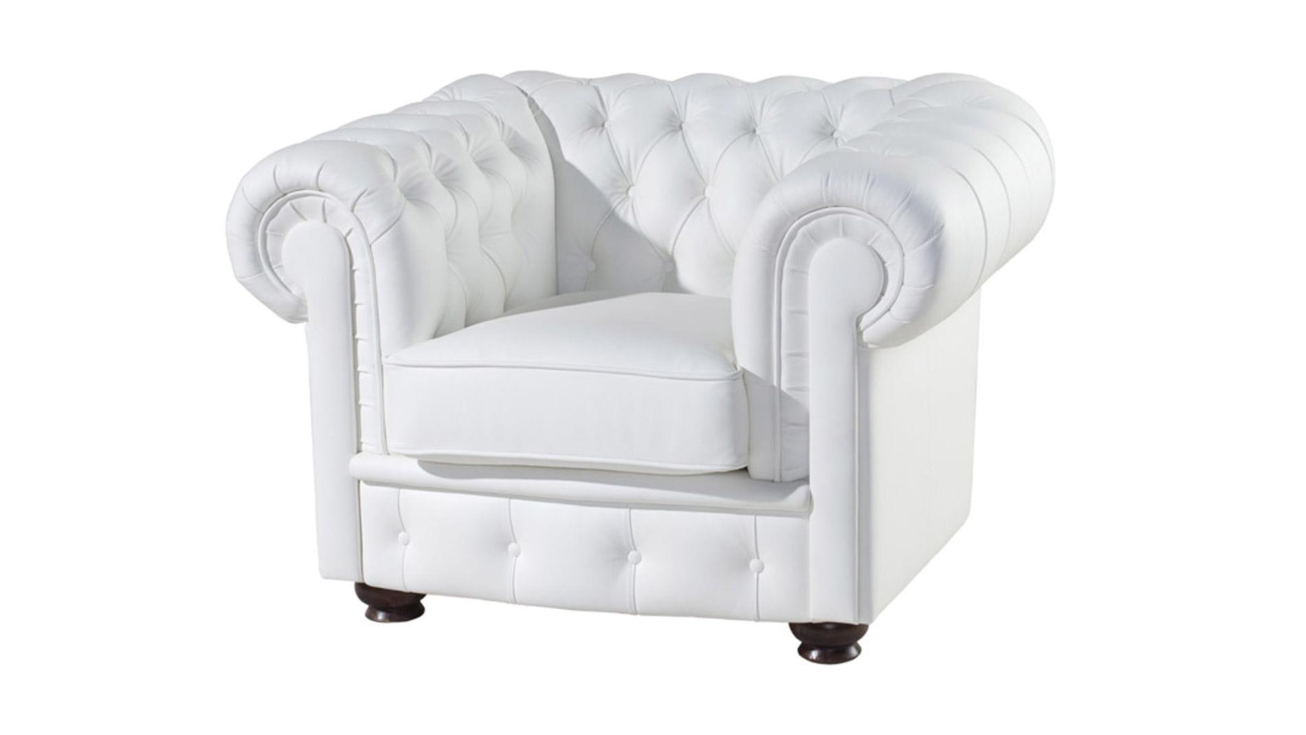 Кресло Честерфилд (Chesterfield) Белое Экокожа Р