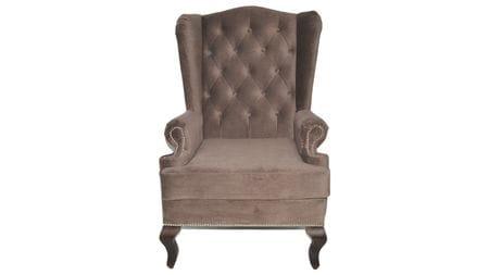 Каминное кресло с ушами Велюр Серо-коричневый РМ