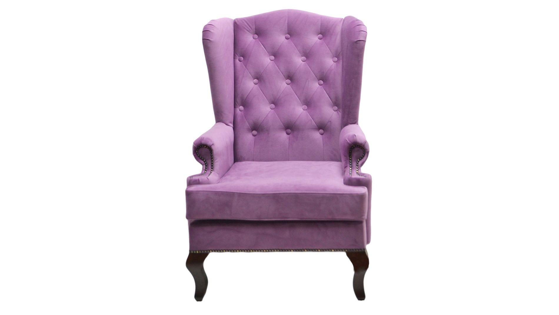 Каминное кресло с ушами Велюр Лиловый РМ