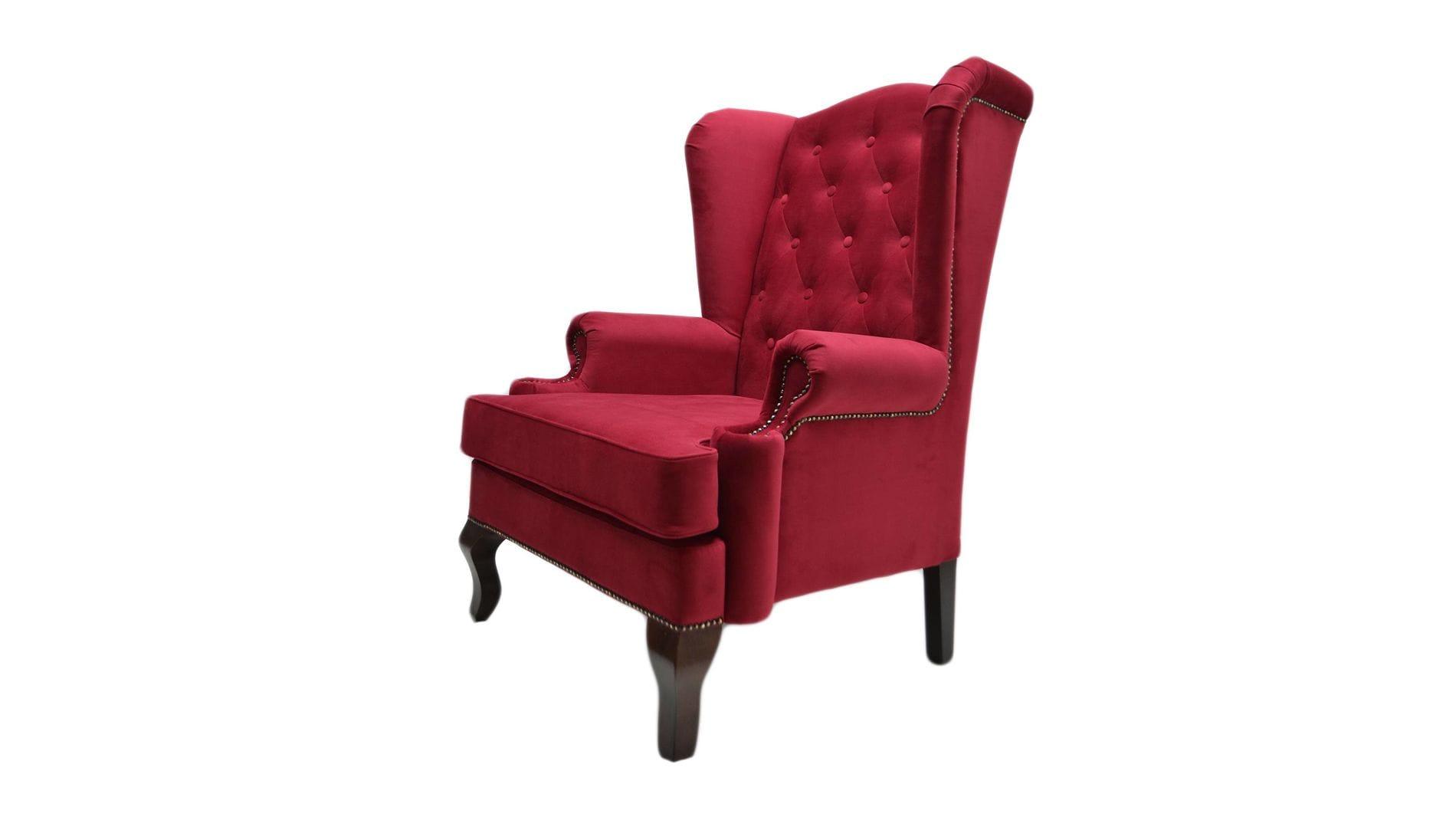 Каминное кресло с ушами Велюр Красный РМ