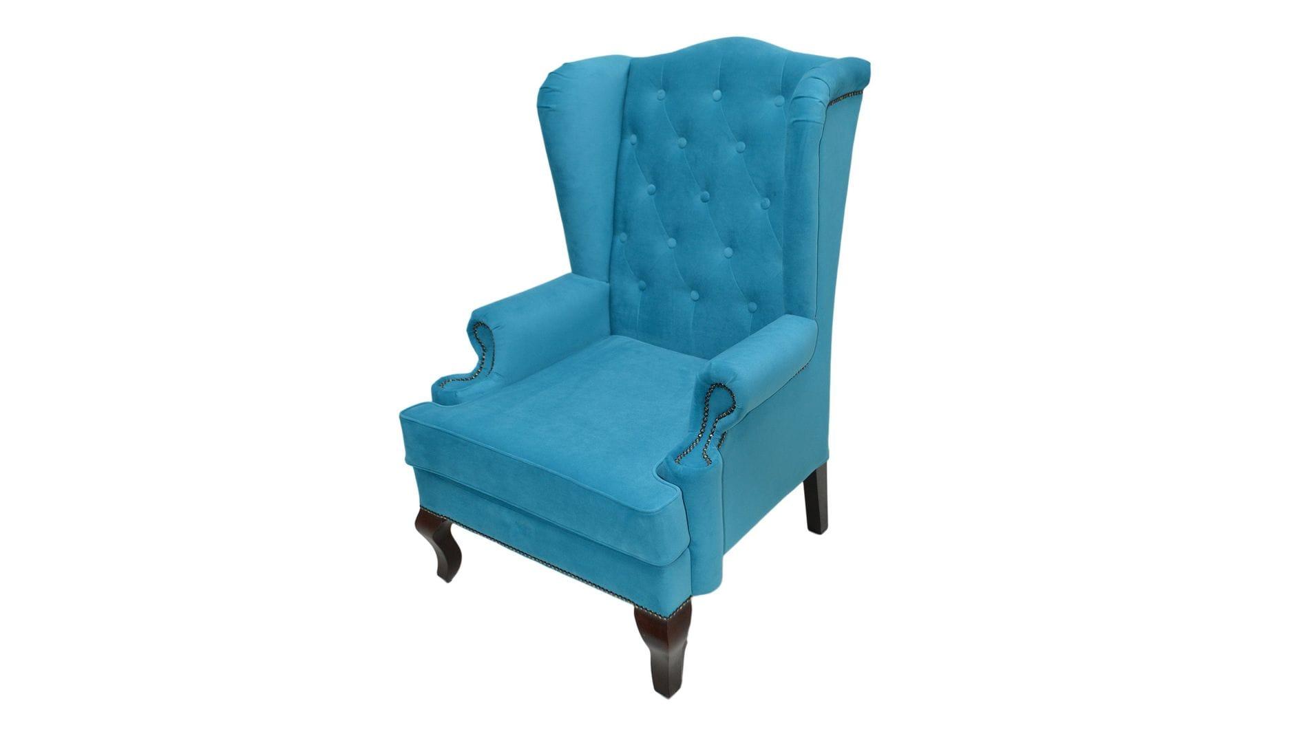 Каминное кресло с ушами Велюр Бирюзовый РМ