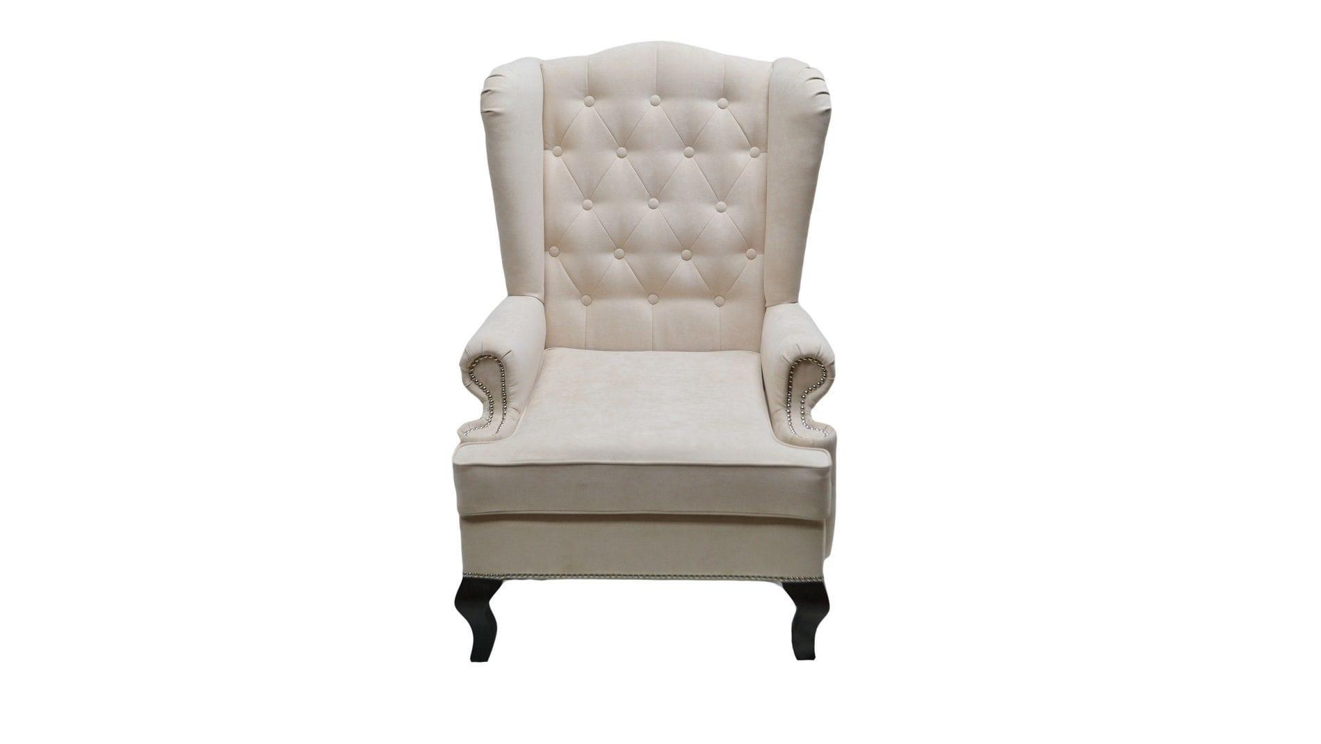 Каминное кресло с ушами Велюр Молочный РМ