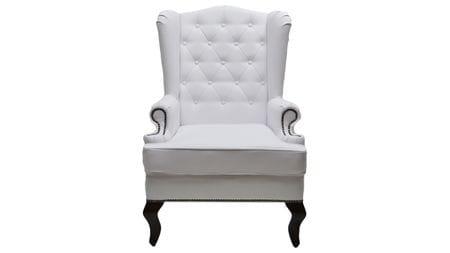 Каминное кресло с ушами Экокожа Белая РМ