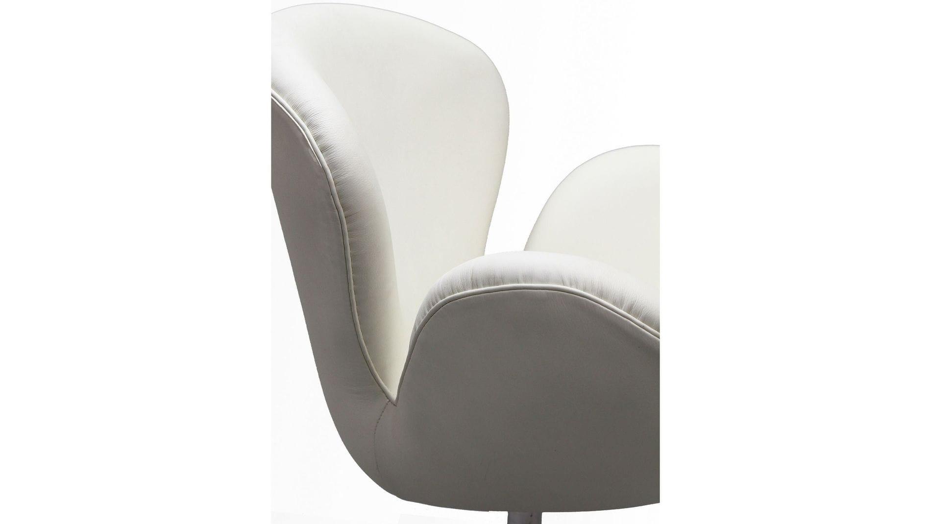 Кресло Swan Chair Белая Экокожа М