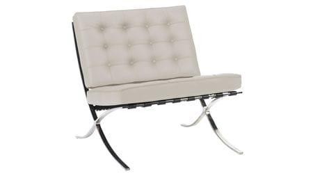 Кресло Barcelona Chair Молочная Экокожа Р