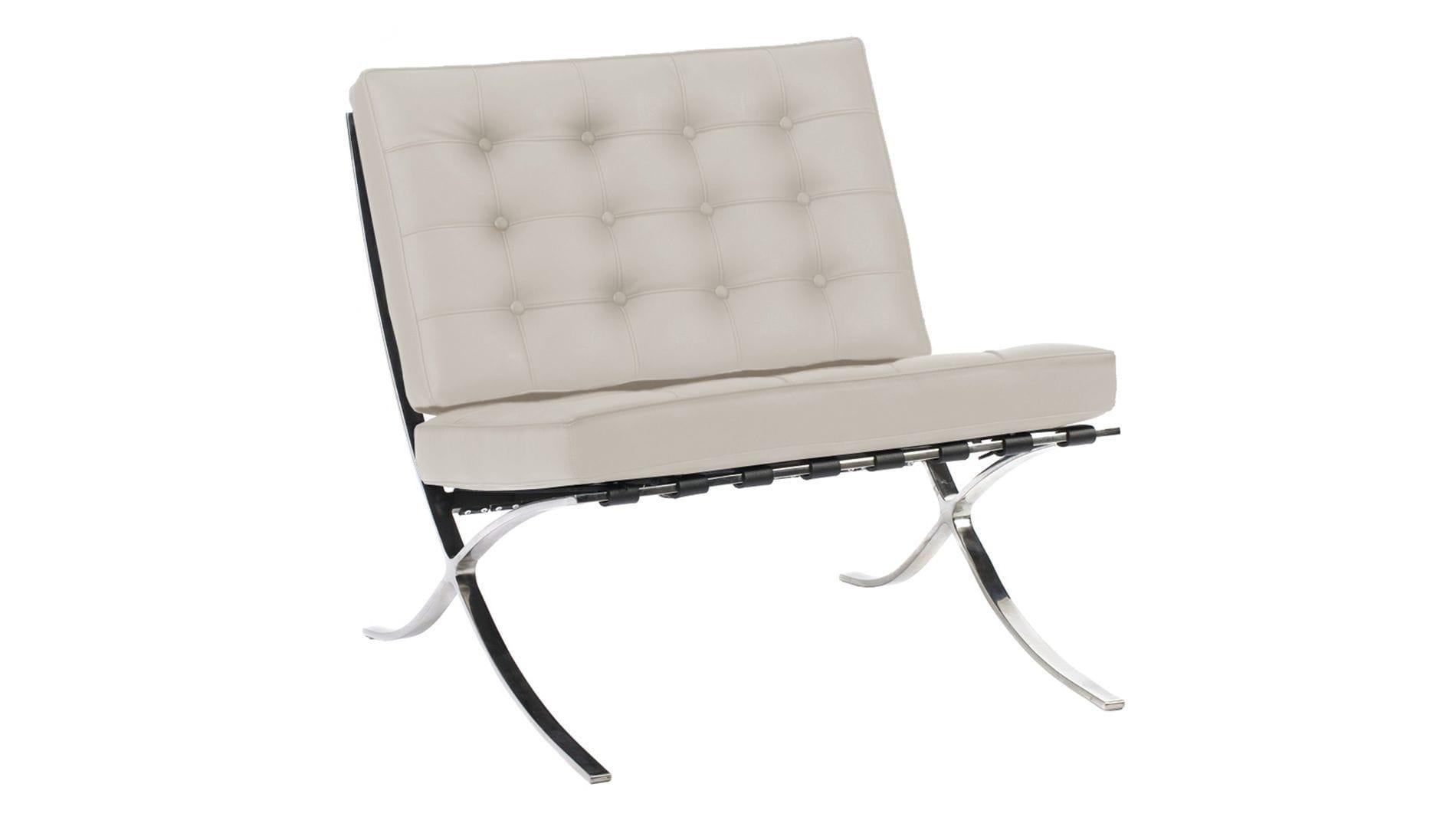 Кресло Barcelona Chair Молочная Кожа Класса Премиум Р