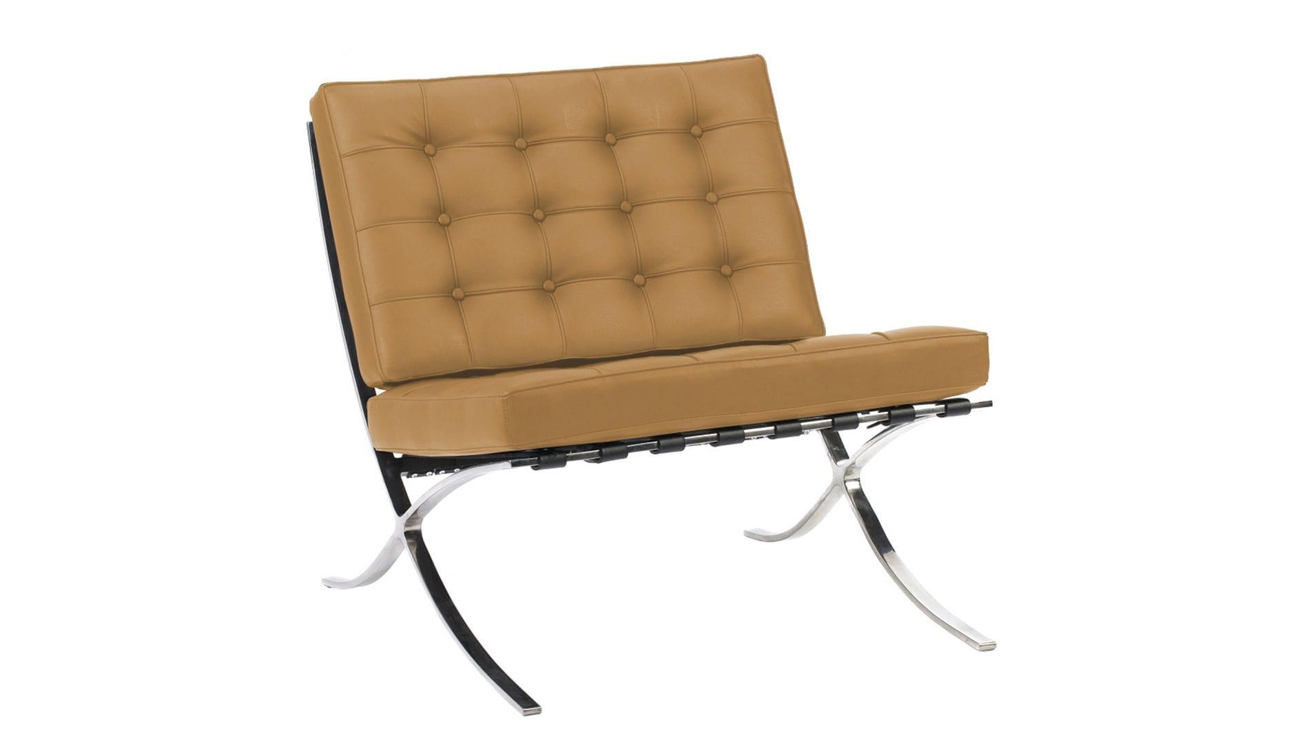 Кресло Barcelona Chair Ореховая Кожа Класса Премиум Р