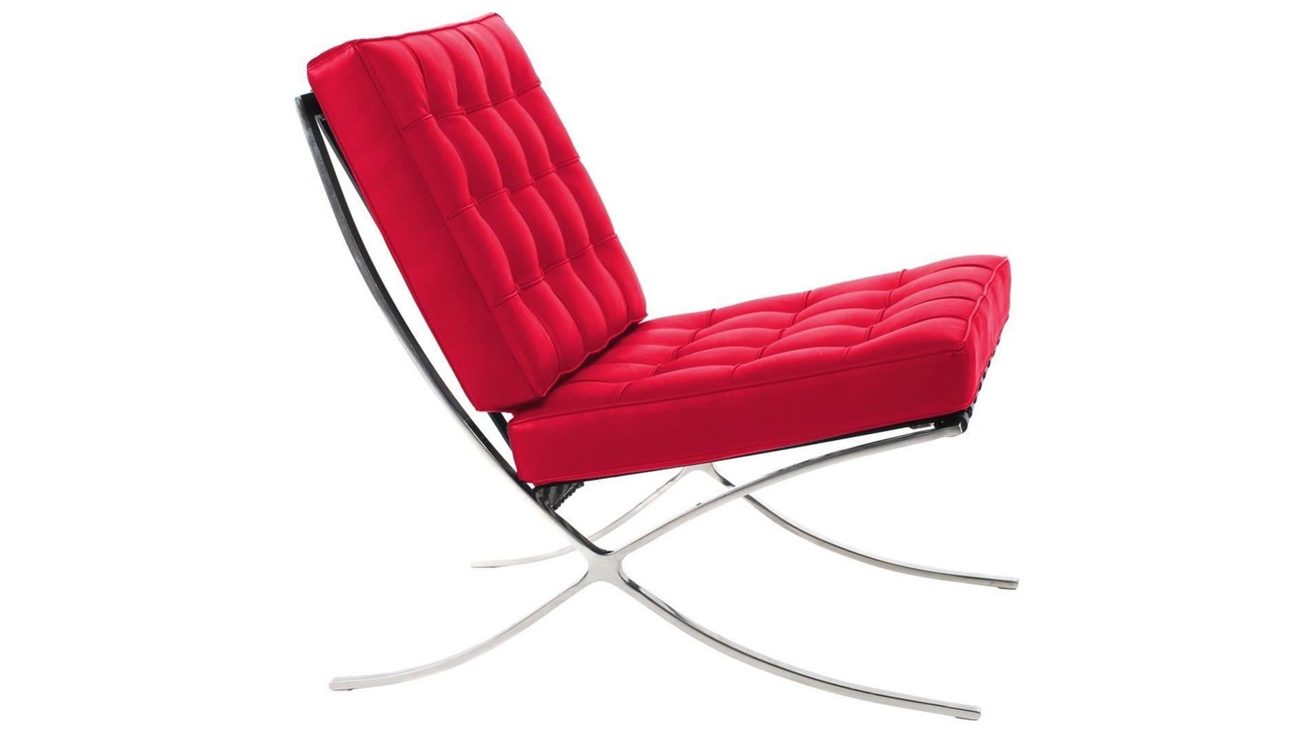 Кресло Barcelona Chair Красная Кожа Класса Премиум Р