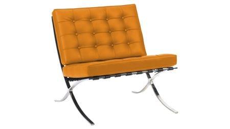 Кресло Barcelona Chair Оранжевая Экокожа Р