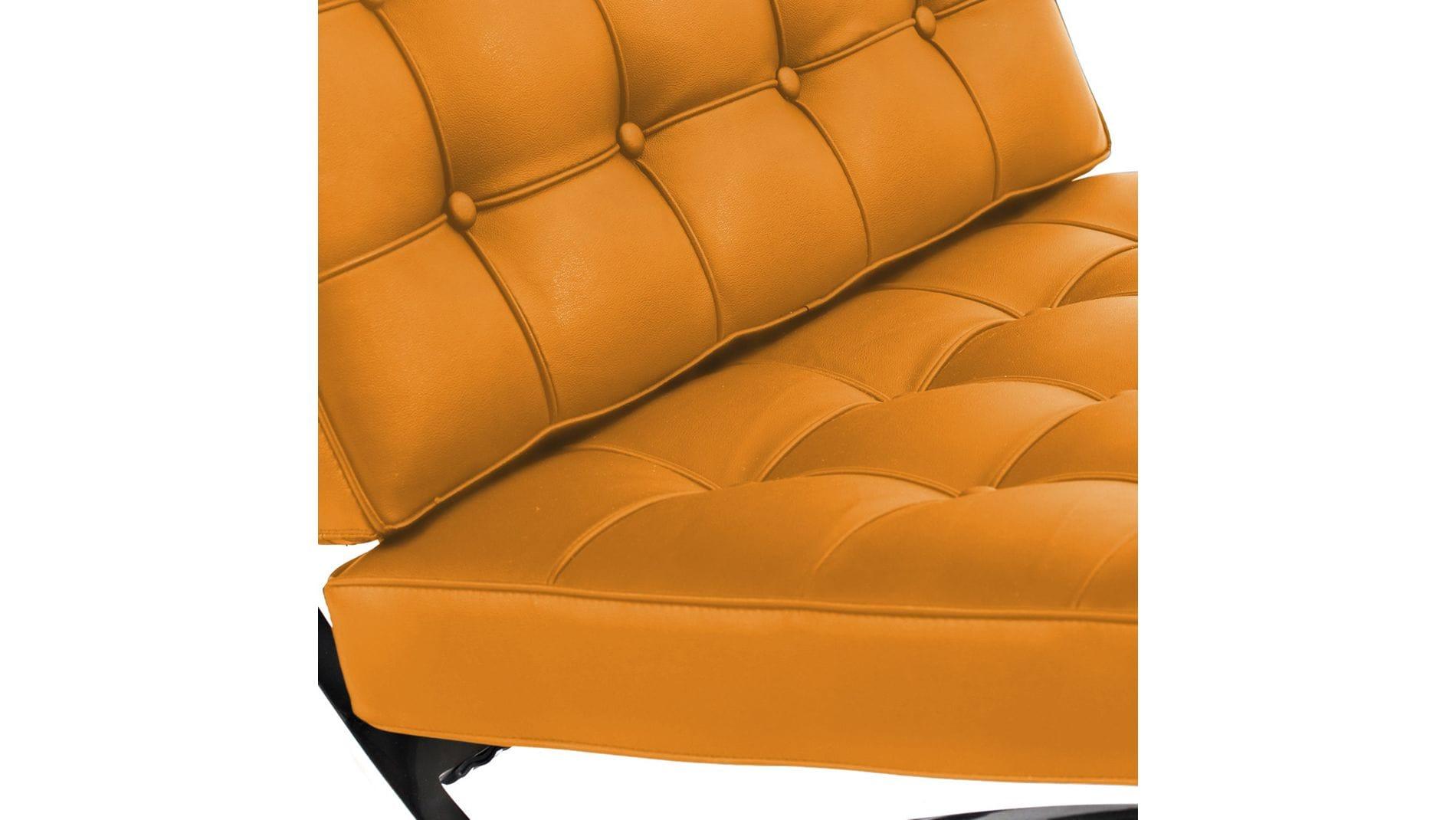Кресло Barcelona Chair Оранжевая Кожа Класса Премиум Р