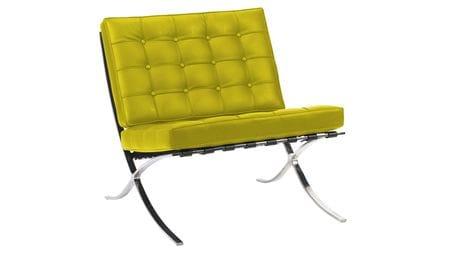 Кресло Barcelona Chair Лимонная Экокожа Р