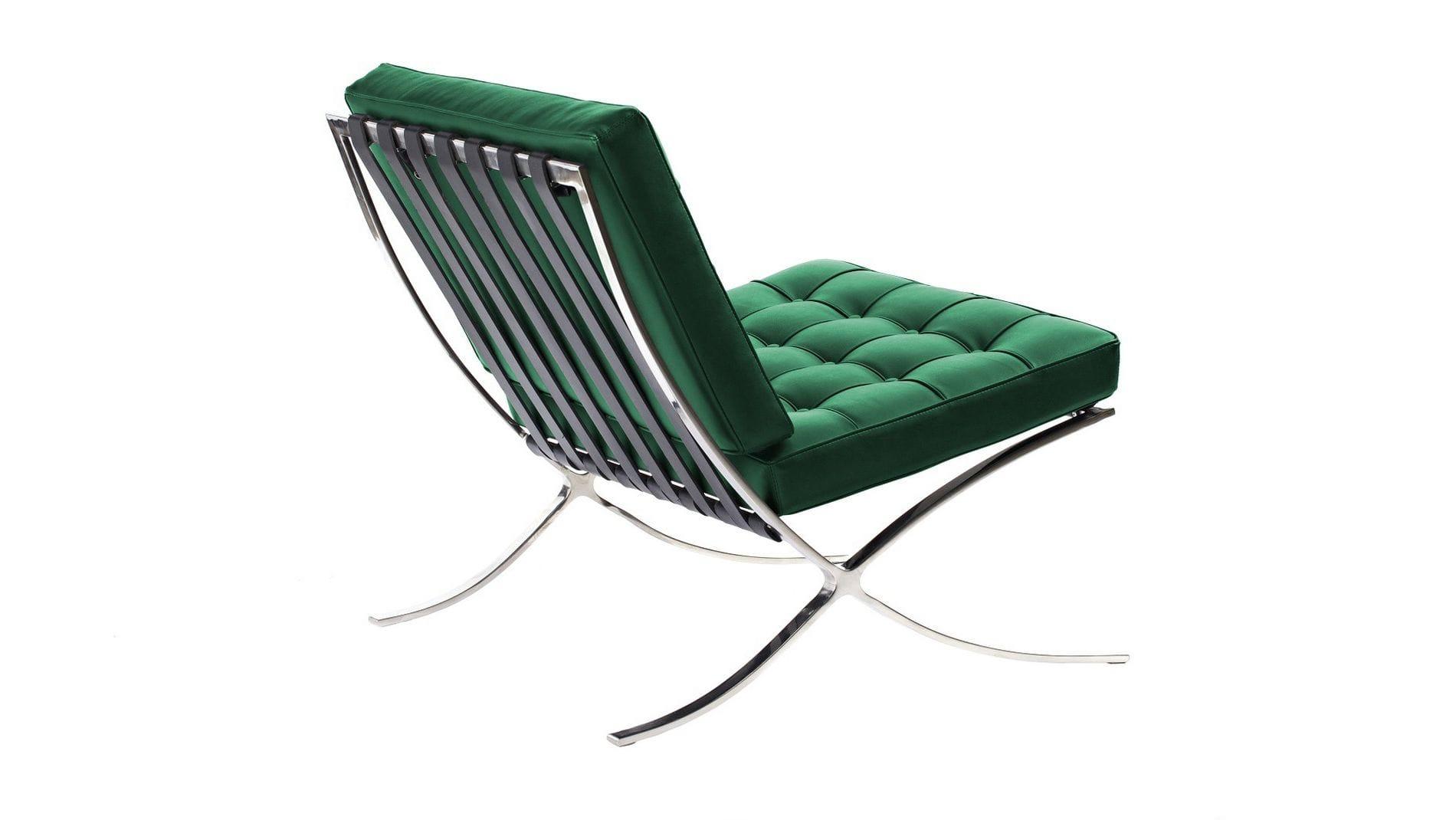 Кресло Barcelona Chair Зелёная Кожа Класса Премиум Р