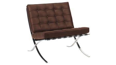 Кресло Barcelona Chair Коричневая Экокожа Р