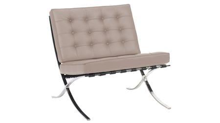 Кресло Barcelona Chair Серая Кожа Класса Премиум Р