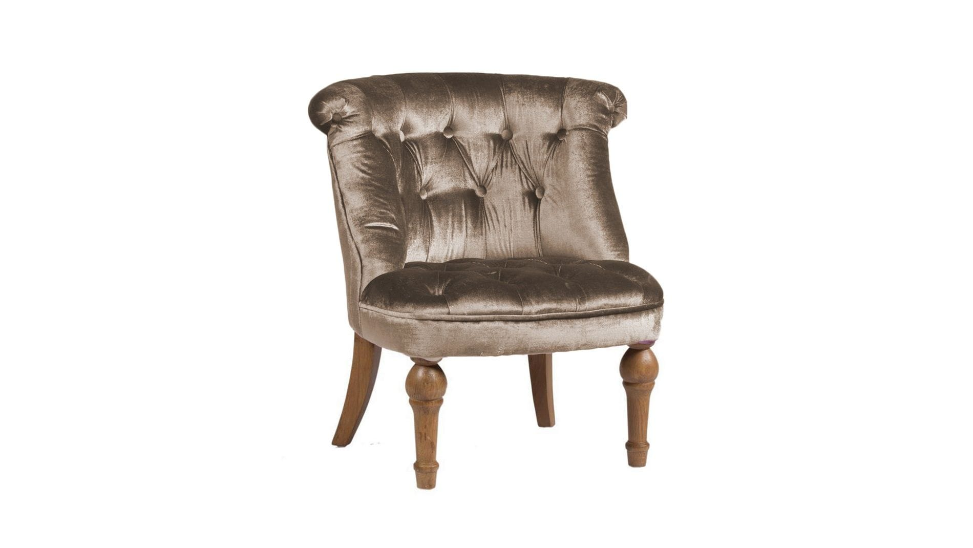 Кресло Sophie Tufted Slipper Chair Серо-Коричневый Микровелюр М