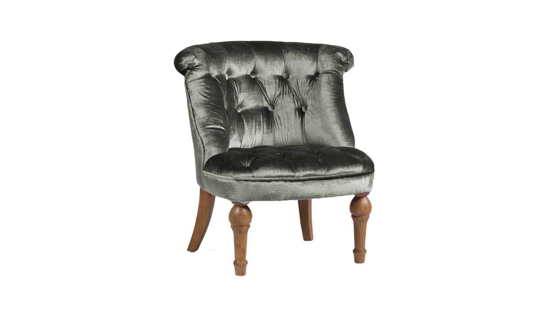 Кресло Sophie Tufted Slipper Chair Серый Микровелюр М