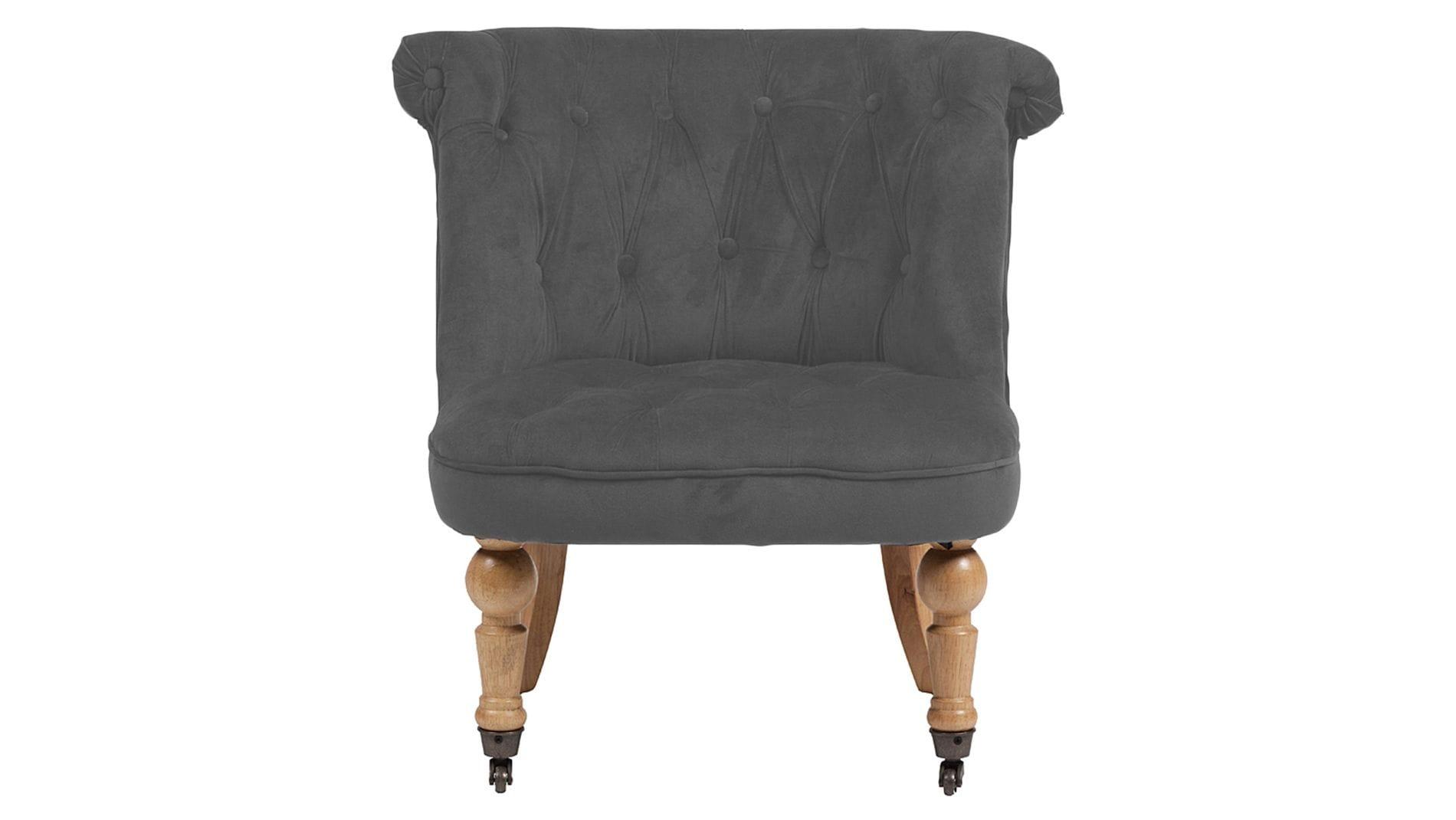 Кресло Amelie French Country Chair Светло-серый Велюр М