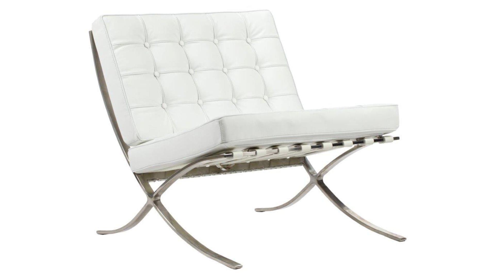 Кресло Barcelona Chair Белая Кожа Класса Премиум Р