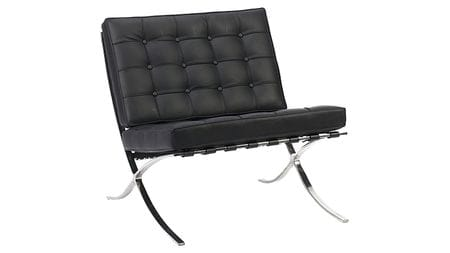 Кресло Barcelona Chair Чёрная Кожа Класса Премиум