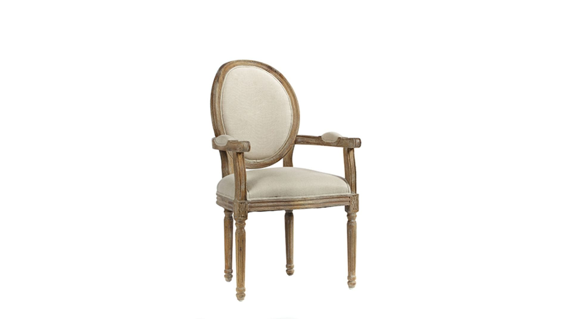 Кресло Vintage French Round Кремовый Лен