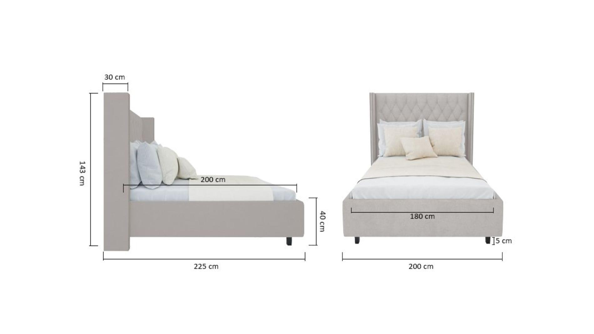Кровать с декоративными гвоздиками Wing 180х200 Велюр Бежевый Р